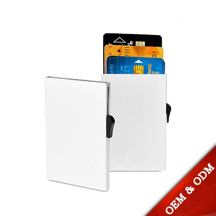 Credit Card Holder Automatic Pop-Up Sliding Aluminum Wallet. Slim Sleeve Protector Case