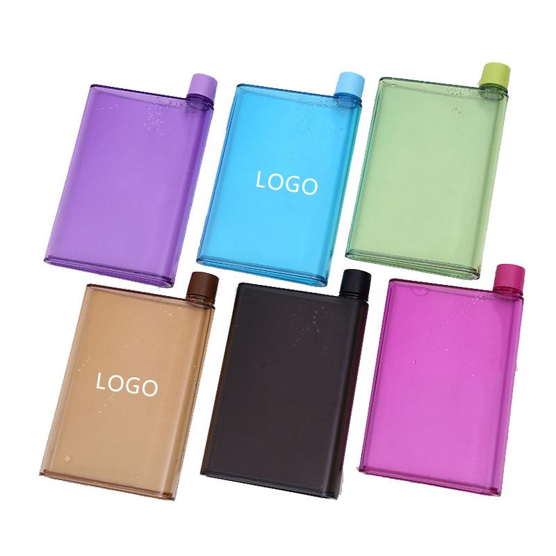 plastic flat notebook water bottle A4 A5 380ml/450ml easy to carry