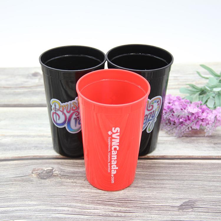 22oz smooth party stadium plastic cup with lid bpa free