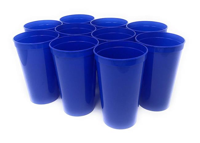 22OZ Solid color Plastic Stadium Cup with no hole Reusable lid optional