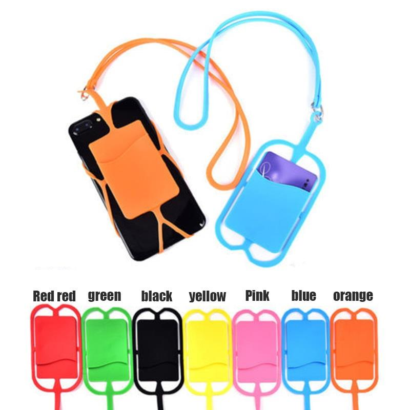 Factory wholesale cell phone case mobile phone card holder with neck strap