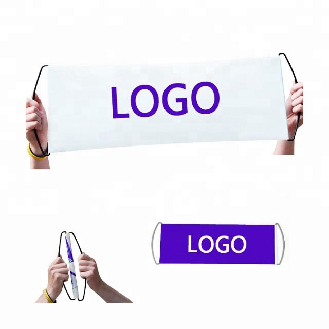 custom promotional hand held self rolling banner hand retractable banner fan banner