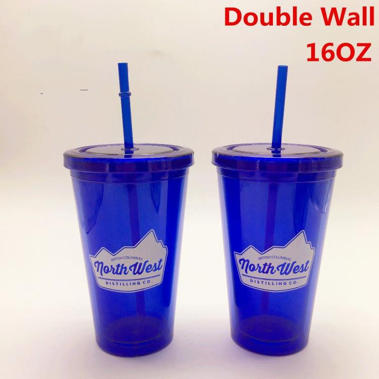 16OZ double wall plastic tumbler with straw transparent straw cup