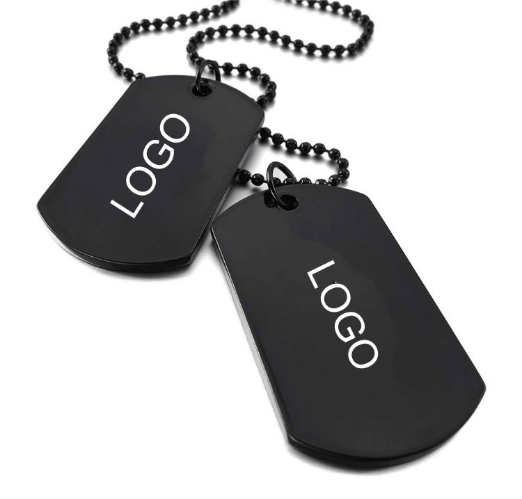 Black Dogtag set with custom logo printing for promotion
