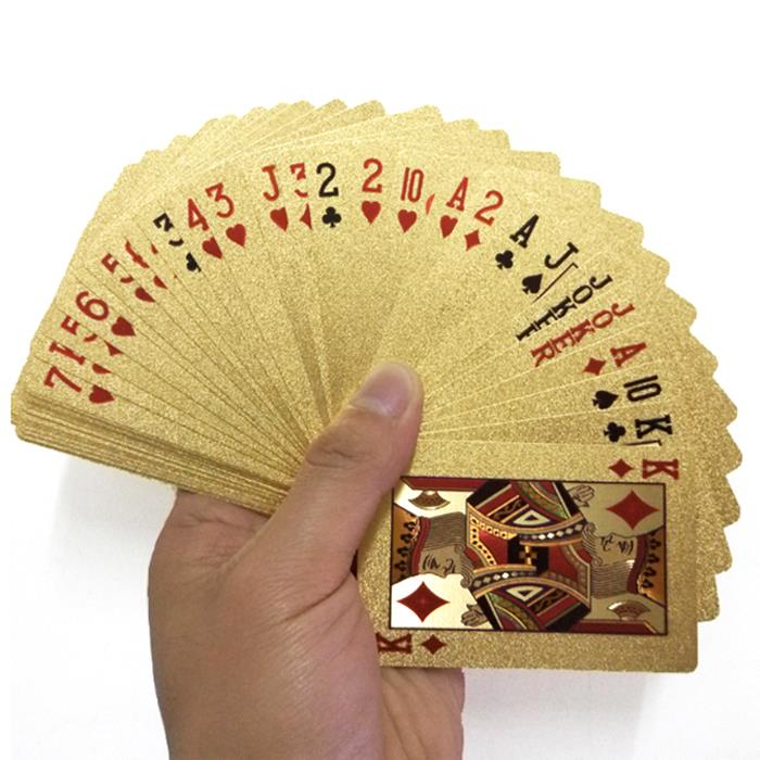 OEM 24K Gold Color Plated Foil 54 PCS Waterproof Poker Playing Cards