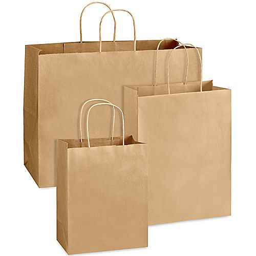 Brown and white foldable Kraft paper tote bag