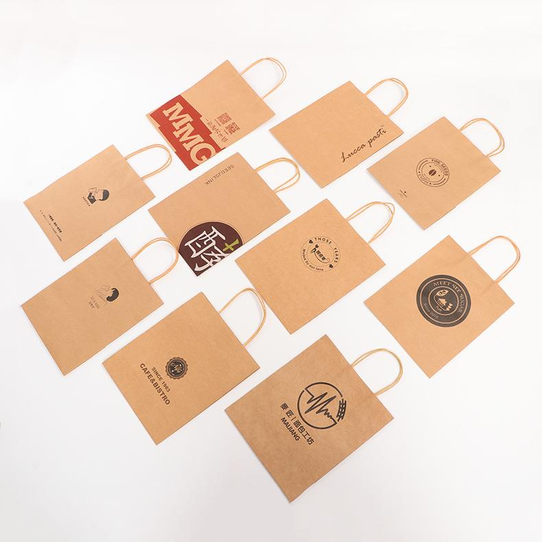 customized full color printing tote bag brown white kraft paper shopping bag