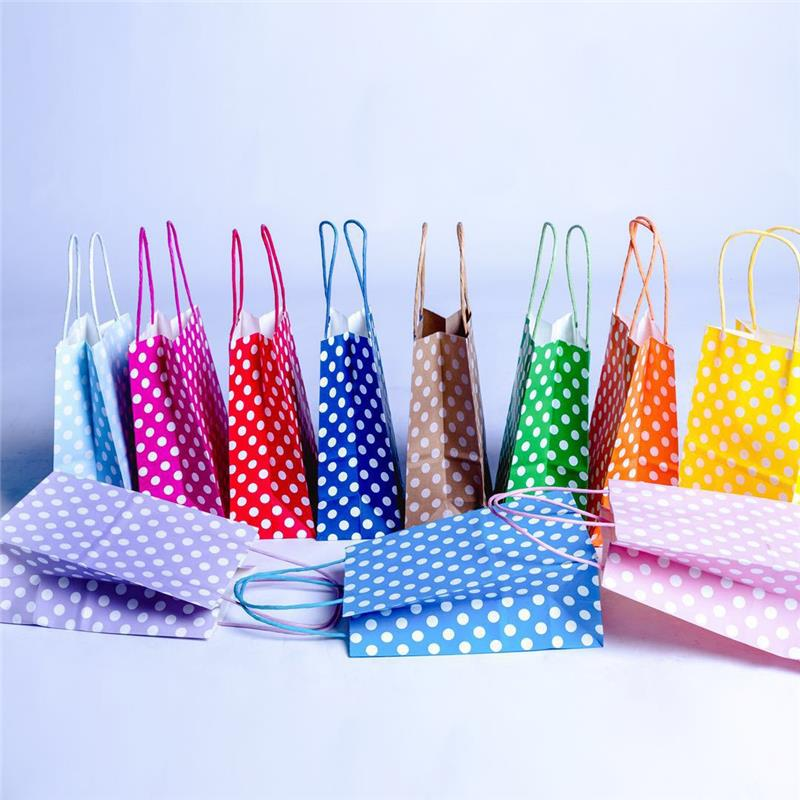 Custom Logo Colorful Tote Polka Dot Food Kraft Gift Paper Bags With Handle