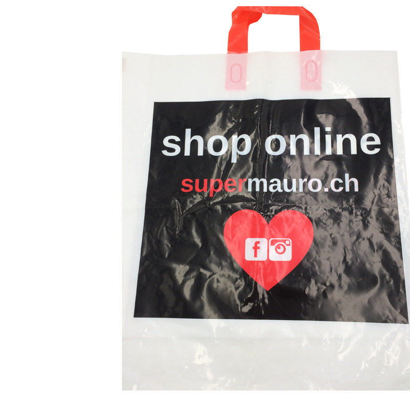 Custom Printed Logo die cut shopping bag plastic bag
