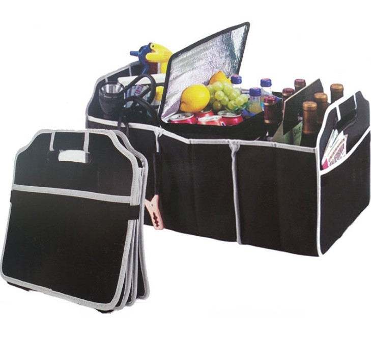 Collapsible trunk organizer with a zippered cooler