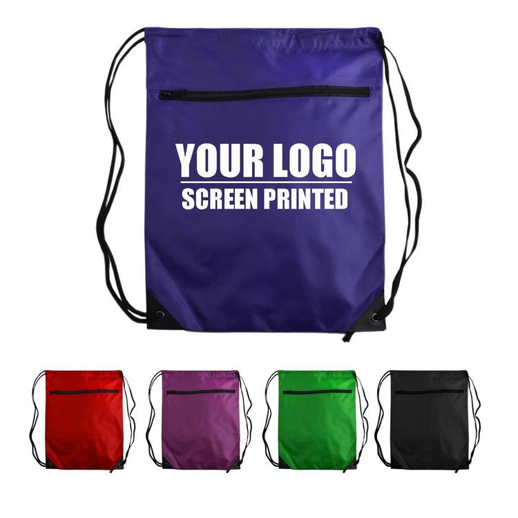 Classic Zipper Pocket Drawstring Bag With Logo