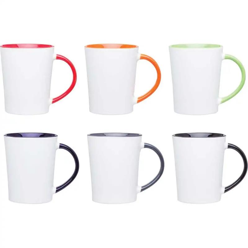 14oz handle solid color inside coffee mugs for sublimation printing