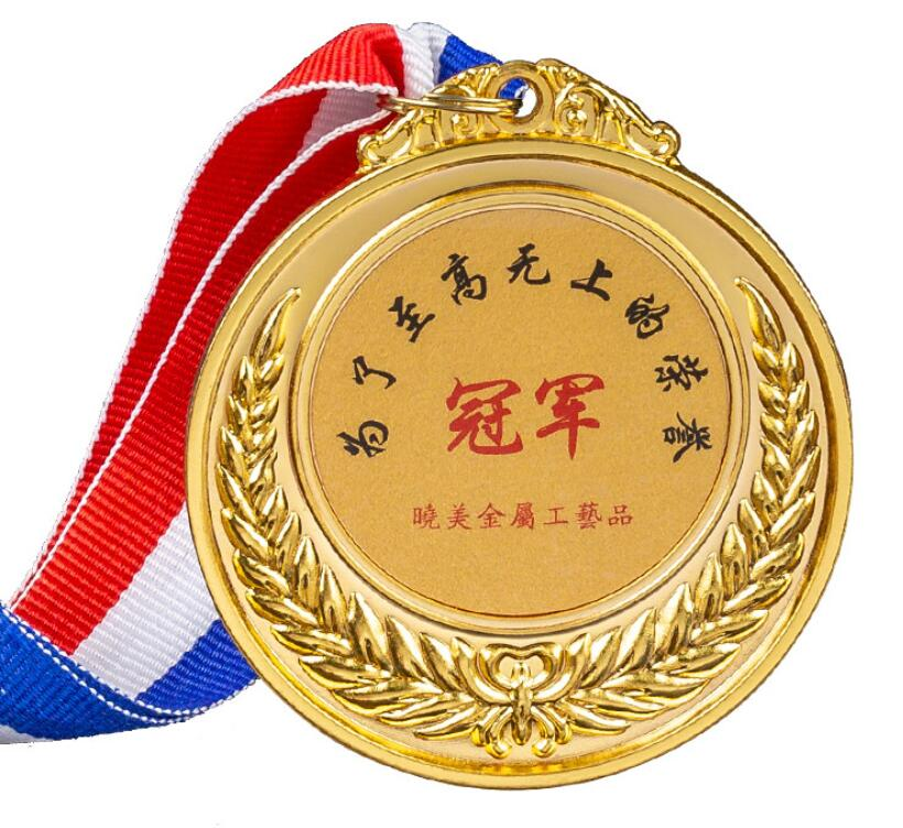 Wholesale Cheap Custom Design Zinc Alloy 3D Gold Medal Award with Ribbon