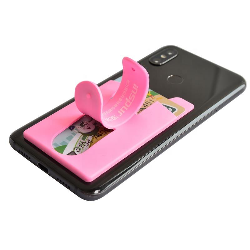 Universal Touch U Stand Credit ID Wallet Custom Logo Silicone Mobile Cell Phone Card Holder