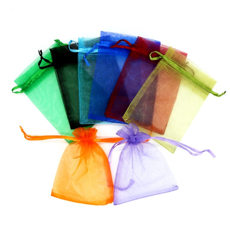 Small 9x12cm Organza Drawstring Gift Packing Bags Wedding Organza Pouch